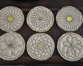 In the Hoop Floral Burlap Coasters NO Sew FAST EASY Machine Embroidery
