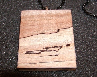 "Sale - Spalted Maple Wood Pendant With 24"" Black Ball Chain Necklace #2"