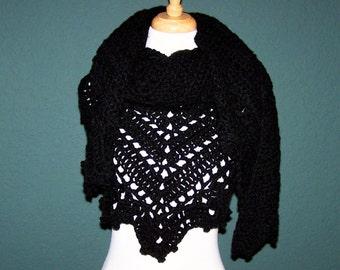 Hand Crochet Triangle Shawl, Black Shawl, Black Wrap, Gift For Her