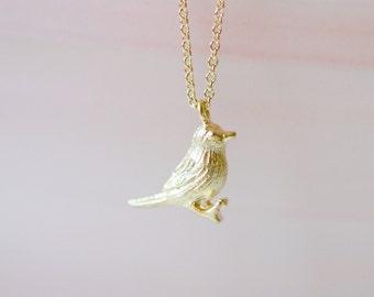 Gold bird necklace, tiny bird pendant, little bird charm, songbird, sparrow, robin, dove, gold pendant, gift for her, bird jewelry - Lark