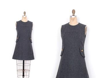 Vintage 1960s Dress / 60s Mod Wool Tunic Mini Dress / Gray (S M)
