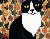 Tuxedo Cat, Original, Mixed Media ACEO, Collage, One of a Kind, Miniature Art, Cat Art