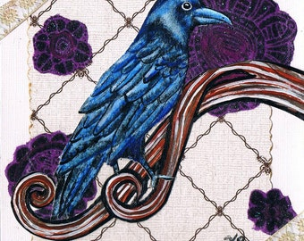 Handmade Raven Greeting Card, Acrylic Painting, Collage,  Mixed Media, Gothic Crow, Steampunk Style