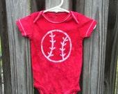 Baseball Baby Bodysuit (9 months), Red Baseball Baby Shirt, Red Baseball Baby Gift, Baby Baseball Bodysuit, Baseball Baby Shower Gift