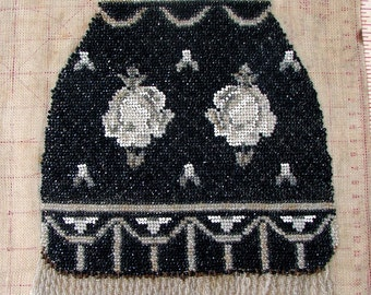 Antique Beaded Edwardian PURSE,Bag, Black, White, Gray Reticule,  On Canvas, For Study, Framing.  Work in Progress Rare