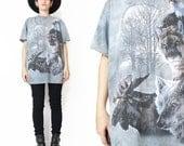 90s Wolf Tshirt Wild Animals Tshirt Tie Dye Tshirt Moon Moose Eagle Tshirt Gray Unisex Screen Printed Tee Cotton Hipster Tshirt (S/M)