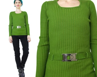 90s Green Ribbed Knit Sweater Bright Green Mod Long Sleeve Sweater Preppy Ski Belted Sweater Buckle Stretchy Sexy Knitted Jumper (XS/S)
