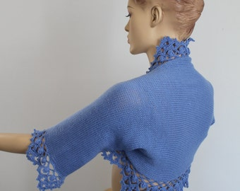 Crochet Shrug, Knit Crochet Bolero,  Hand Knit  Crochet  Blue   Shrug  Bolero , Wedding shrug bolero, Cover up, Bridal bolero, 3/4 sleeved
