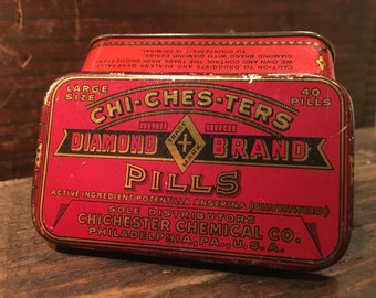 c.1939 Antique CHI*CHES*TERS Diamond Brand Morning After Pills Tin