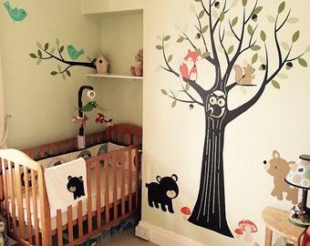 Woodland Nursery, Woodland animals,  Wall Decals Nursery, Tree Wall Decal, Nursery Decor, Owl Nursery Decor, Tree Wall Decal