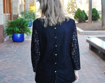 SALE Marybelle blouse/Black lace blouse/Button back/Designer clothing/ Lace fashion/Lace shirt/ Custom sizes/Made in USA