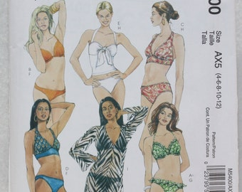 Sz AX5 (4-12) McCall's  Sewing Pattern M5400 Two Piece Halter Top Swim Suit and Cover Up, Bathing Suit A/B and C/D sizes