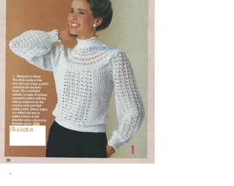 Crochet PATTERN - Delicate Romantic Ladies Sweater/Top - download PDF