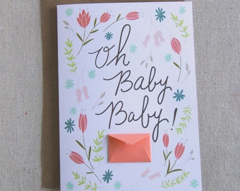 Oh Baby Floral Card  - Tiny Envelopes Card
