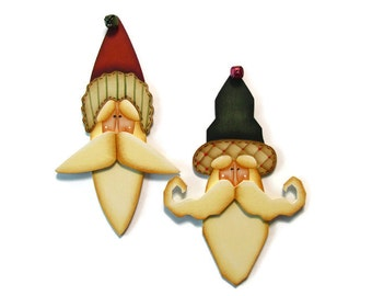 Santa Ornament, Green or Red Hat, Handpainted Wood, Hand Painted Christmas Ornament, Tole Decorative Painting