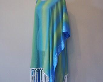 Blue/Green Stripes Chiffon Fringe Tunic, Kimono, Dress, Caftan, Summer Tunic, Summer Vacation Wear,  Beach Wear, Beach cover up
