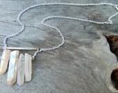 Quartz Crystal Necklace, Raw Crystal Jewelry, Raw Crystal Pendant, Gypsy Jewelry, Boho Chic Necklace,  Minimalist Necklace