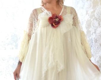 Winter white Gypsy Tunic Dress, Woodland goddess, Bohemian Magnolia lace Pearl, Boho dresses Vagabond wanderer, Romantic True Rebel clothing