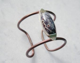 Jasper Copper Bracelet //  Natural Gemstone // slim elegant cuff, One Of A Kind
