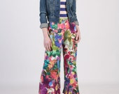Wide Leg Crop Pants with Pocket in French Painter Style, Palazzo Pants, Floral Pants,  Wide Linen Pants - Muli Color Floral Linen