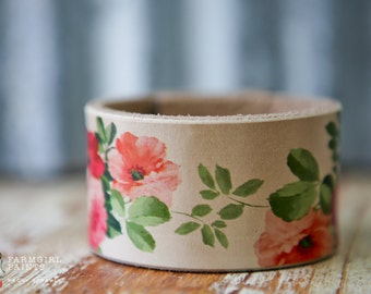 """CUSTOM HANDSTAMPED CUFF - bracelet - personalized by Farmgirl Paints -  floral """"shabby rose"""" print leather cuff"""