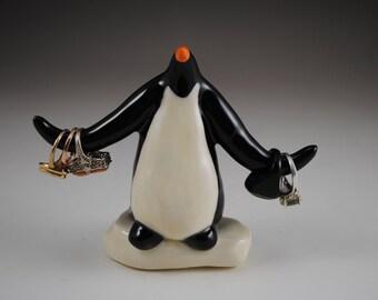 Ceramic Clay Emperor Penguin Ring Holder on Ice Black and White Holds Rings for the Penguin Lover
