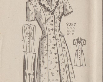 Vintage 1940s Mail Order Sewing Pattern 9257 / Dress / Size 14 Bust 32