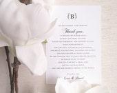 PRINTED Wedding Reception Thank You Card - Style TY94 - ELEGANT Wedding COLLECTION  | Thank You Note  |  Table Card