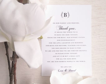 Wedding Reception Thank You Card - Style TY94 - ELEGANT Wedding COLLECTION | Wedding Thank You Card | Thank You Card | Thank You PRINTED