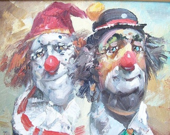 vintage clown oil painting framed signed circus carnival fair mid century modern retro wall hanging picture decorative home decor colorful