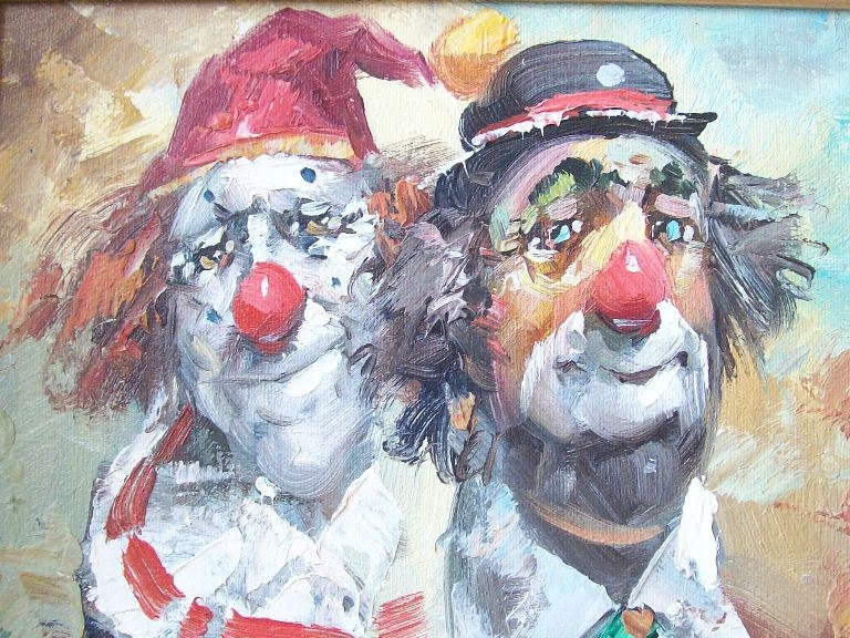 Vintage Clown Oil Paintings: Clown Oil Painting – Billy Knight