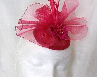 Cerise Pink Fascinator - Raspberry Vintage Style Crinoline Bow Feather Plume & Rhinestone Wedding Fascinator Mini Hat - Made to Order