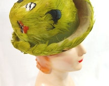 60s Avocado Green Feathered Hat - 1960s Feather Hat - Sears Hat