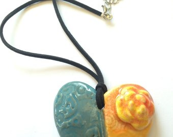 Peach and Sage Green Heart with Rose