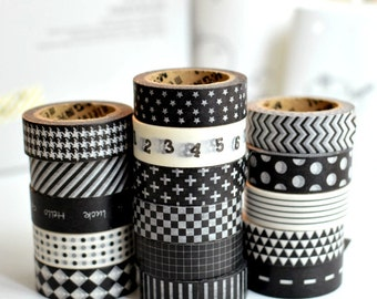 Meetape Black & White Washi deco Masking Tape
