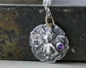 Sterling Silver Fairy Necklace, Art Nouveau Fairy Pendant, Amethyst February Birthstone, Valentines Gift for Her