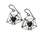 Spider web earrings Victorian jet bees silver spiderweb gothic insect jewelry antique French black jet beads cobweb Halloween