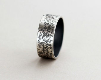 Granit ring men oxidized textured silver ring rough mens wedding silver band ring