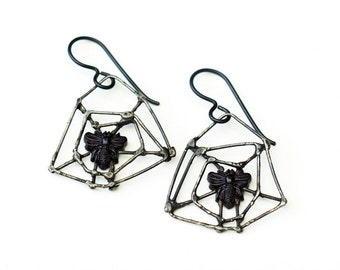 Spider web earrings Victorian jet bees silver spiderweb gothic insect jewelry antique French black jet beads