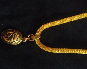Gold Adjustable Snake Chain Necklace with Gold Plated Scarab