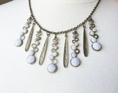 Iridescent Winter felted brown, nude, white Christmas statement necklace