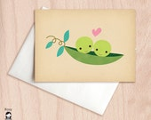 Two Peas in a Pod - Best Friends, BFF Love, Friendship Valentine Card - Blank Greeting Card