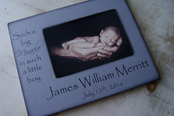 Personalized BABY Frame 4x6 Photo Frame- Name and Birth Date -  Baby Boy -Beautiful Baby Shower Gift