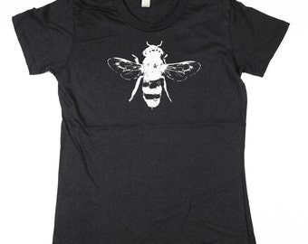 Womens BlackTshirt - Bee Tee Shirt- Shortsleeve Bee -  Eco Friendly Organic Cotton - Small, Medium, Large, XL