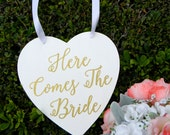 Here Comes The Bride Sign Rustic Wood White And Gold Wedding Sign Wood Heart Flower Girl Sign Ring Bearer Sign Shabby Chic Gold Glam Wedding