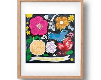 No place like home. Flowers, bohemian, folk, funky flowers, home print, wall art, flowers print