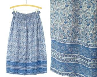 Vintage Gauze Skirt * Bohemian Midi Skirt * India Block Print Skirt * OS