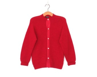 Wool Cardigan Sweater * Vintage 70s Brooks Brothers Sweater * Red Knit Cardi * Medium