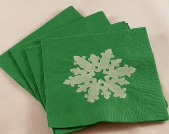 Green Paper Cocktail/ Lunch/ Dinner Napkins With White Snowflake Design