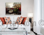 Large Canvas Wall Art, Central Park, NYC Art, 16x20 Canvas, Red Brown Canvas, Rustic Canvas, New York Canvas